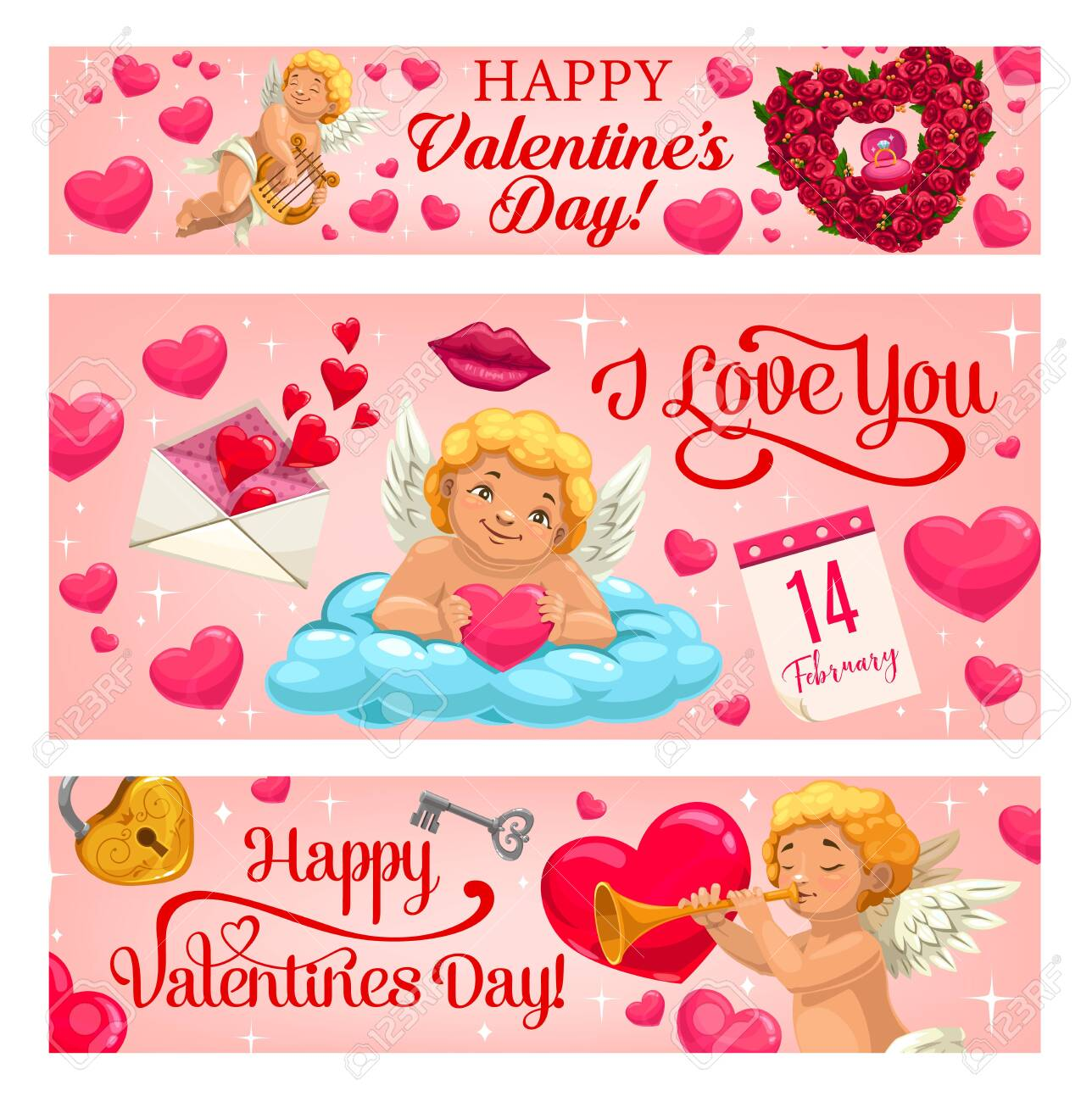 Valentine day vector banners with hearts, diamond ring in pink gift box and roses flowers. Happy Valentine Day, 14 February love holiday calendar, Cupid angel with kiss lips, harp, key and lock - 138290353