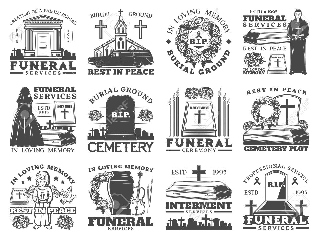 Funeral service icons with coffins and cemetery tombstones vector design of burial, cremation and interment memorial ceremony. Urn, Bibles and flower wreath, grave crosses, candles, church, priest - 140747951