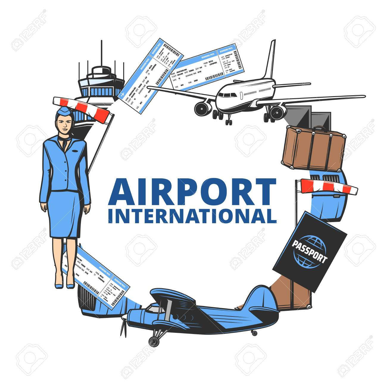 Airport And Air Travel Vector Icon With Plane Passport And Tower Royalty Free Cliparts Vectors And Stock Illustration Image 151600665