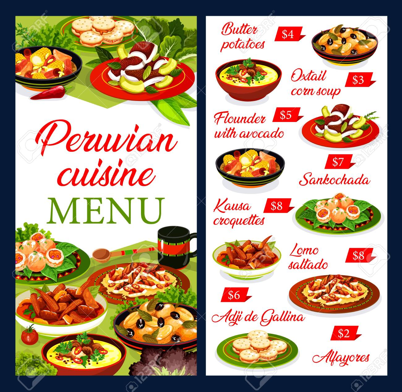 Peruvian restaurant menu vector template with beef meat and vegetable stews, seafood croquettes and dessert. Chicken salad with nut sauce, flounder fish with avocado and oxtail soup, cookie alfajores - 140643723