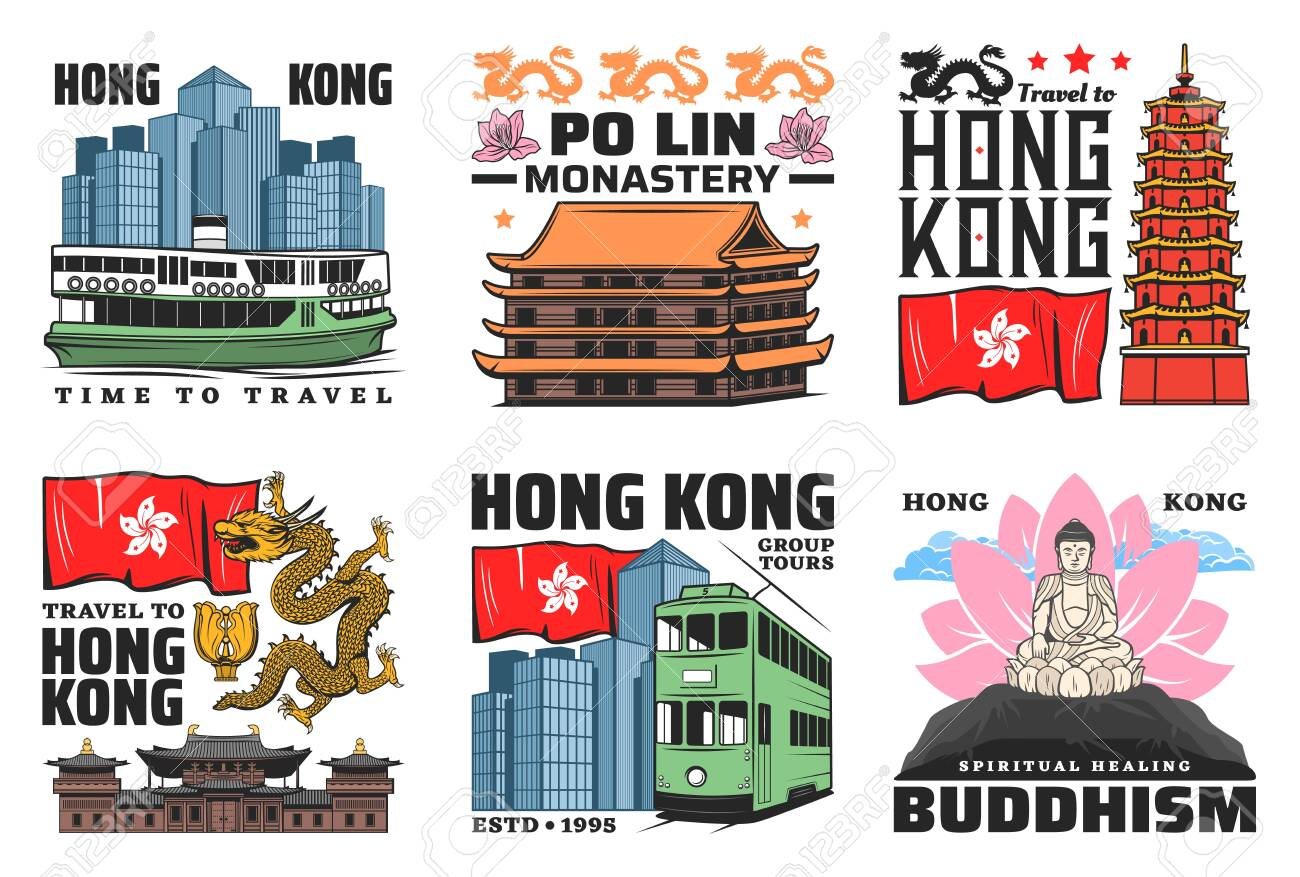 Hong Kong travel landmark buildings vector icons. Tian Tan Buddha, Thousand Buddhas temple tower and Po Lin monastery pagoda, Chi Lin nunnery and double-decker, ferry and dragon - 141022917