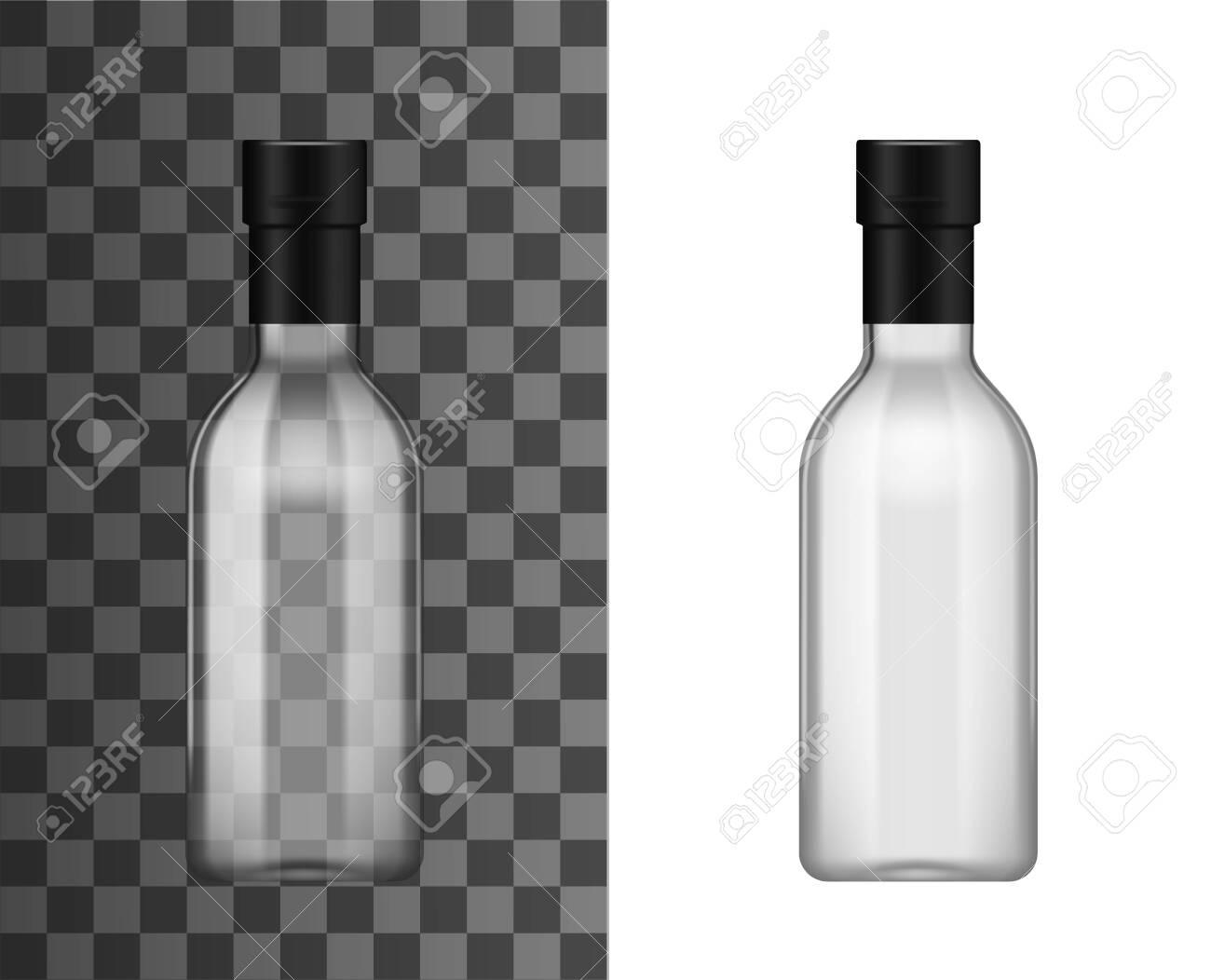 Empty transparent glass bottle with foil bottleneck cap, realistic 3d mockup template. - 141464295
