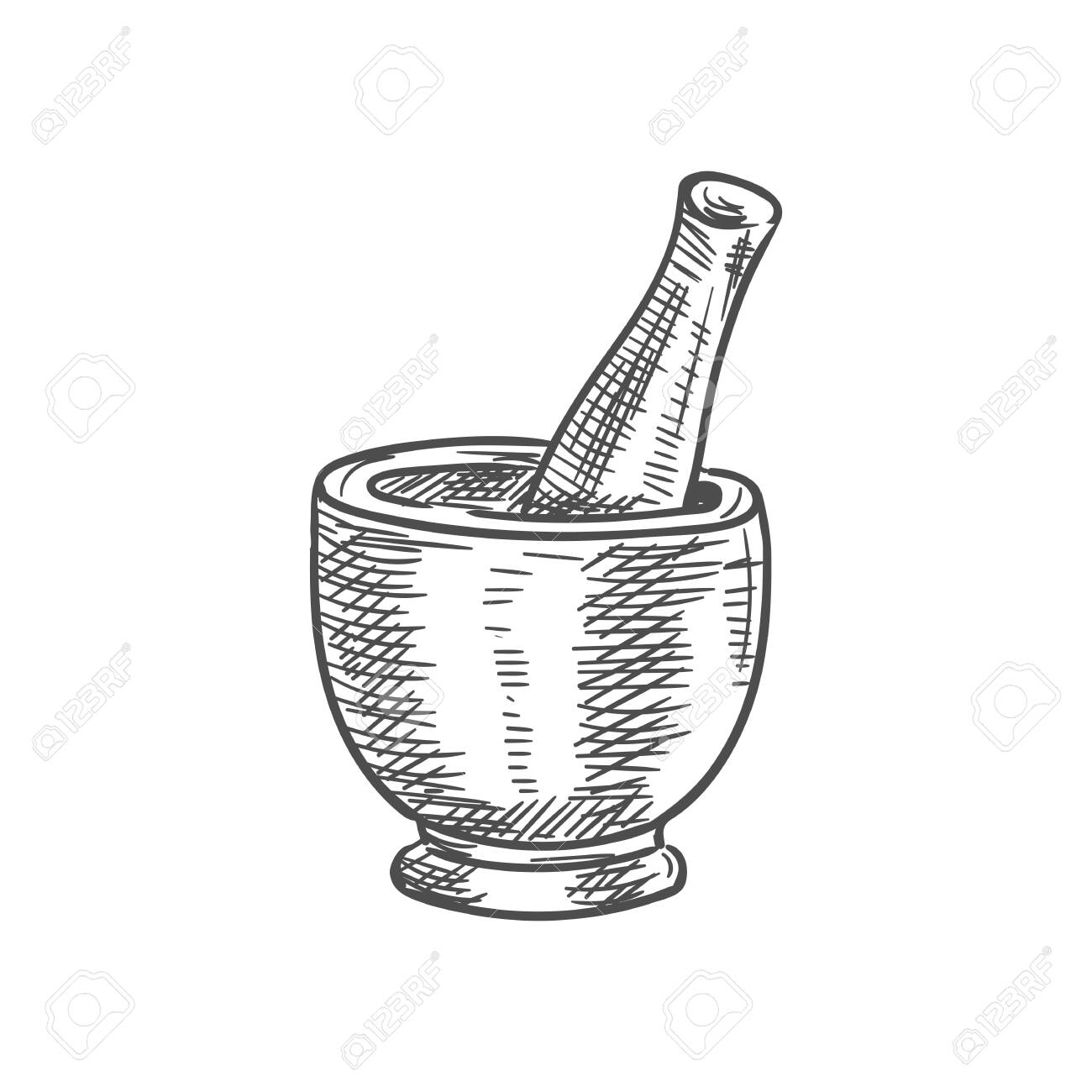 Mortar and pestle isolated kitchen pounder stamp sketch. Vector pharmacy wood grinding tool - 144213911