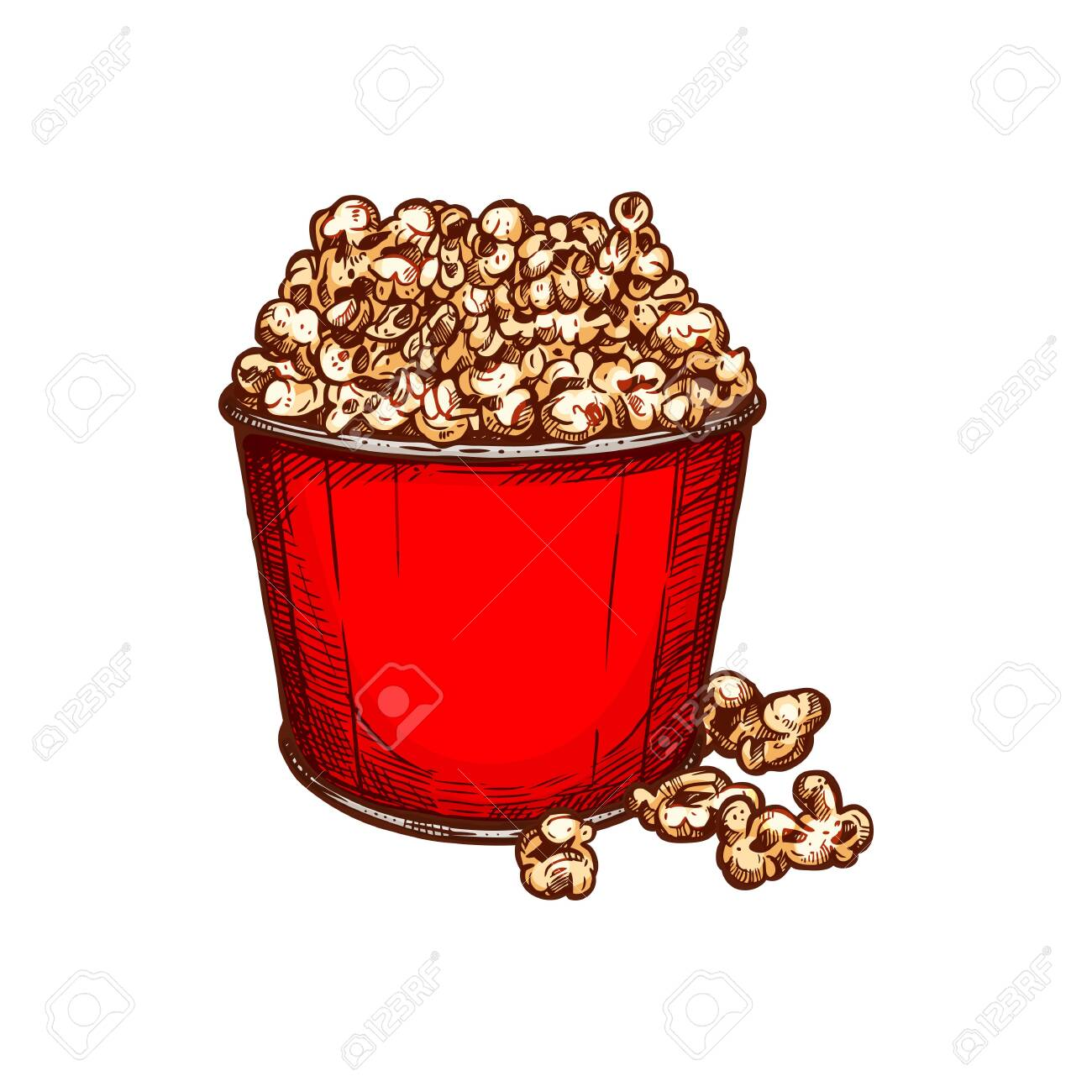 Fastfood Snack Isolated Popcorn Red Bucket Sketch Vector Movie Royalty Free Cliparts Vectors And Stock Illustration Image 144445605