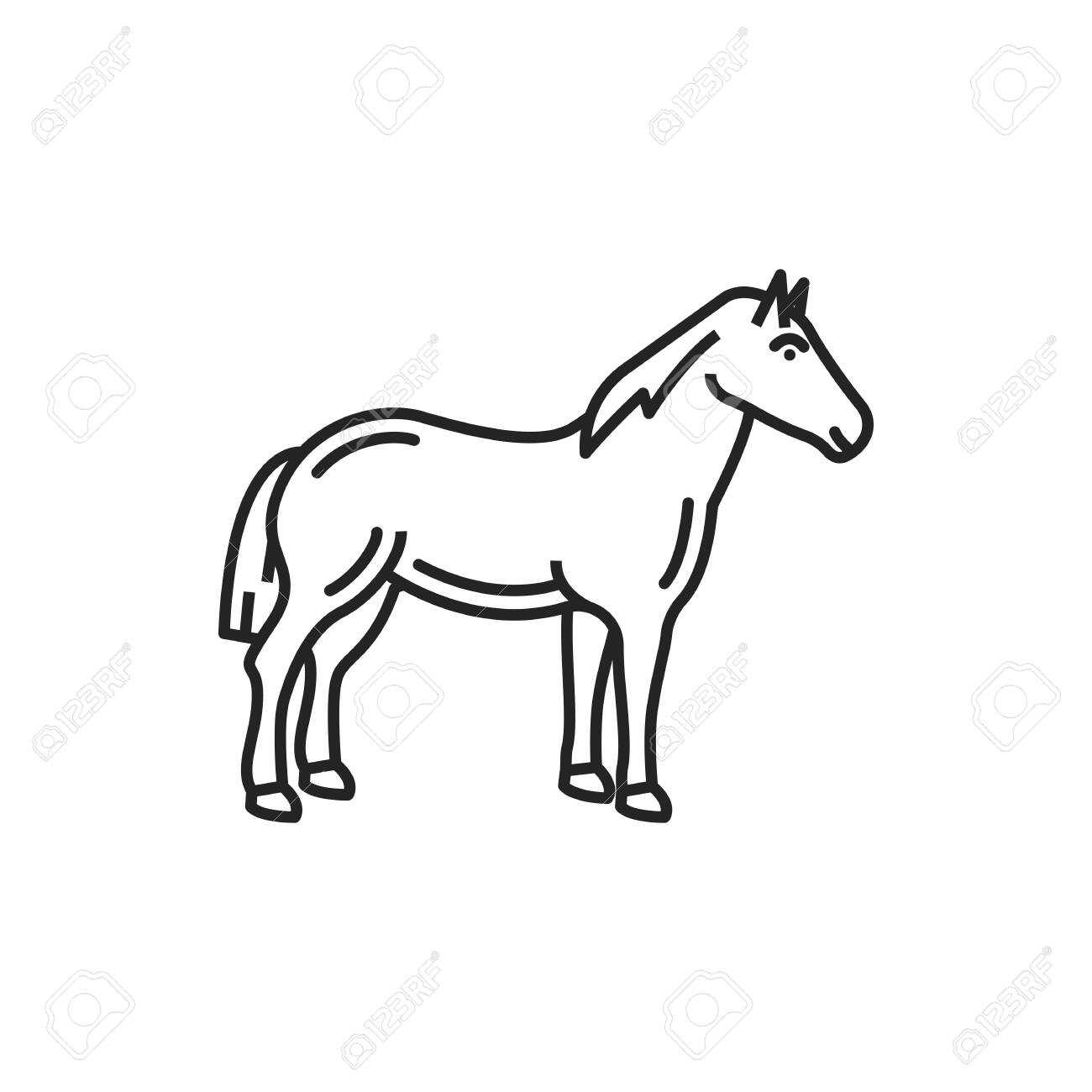 Horse isolated linear monochrome animal icon. Vector stallion mule or small farm pony - 144445463