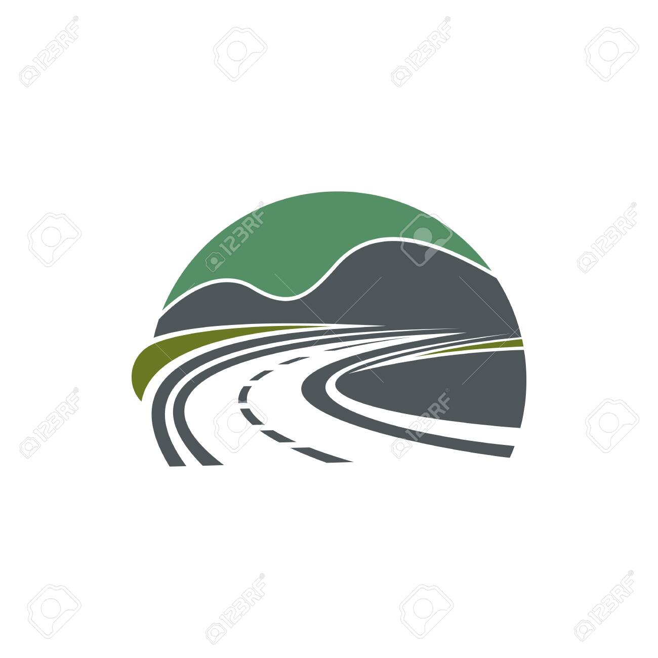 Road isolated roadway or highway symbol. Vector travel company logo, path in nature landscape - 144398091