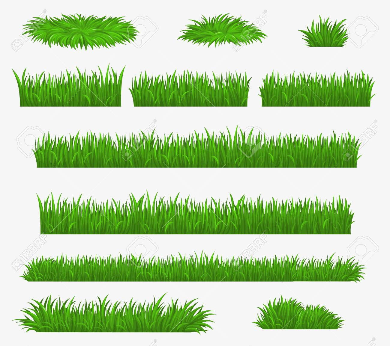 Green grass blades borders and landscaping constructor plants, vector isolated realistic icons. Meadow lawn, park or farm green grass hedges - 145104409
