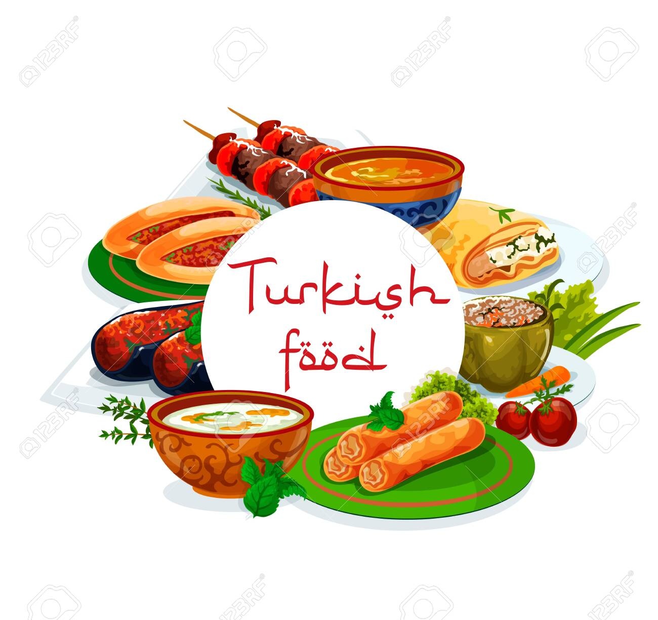 Turkish cuisine national food vector authentic restaurant menu. Turkish iskender and shish kebab, pie of scalded cakes, fatty mussels in batter, soup illa and imam bajaldy - 145639155
