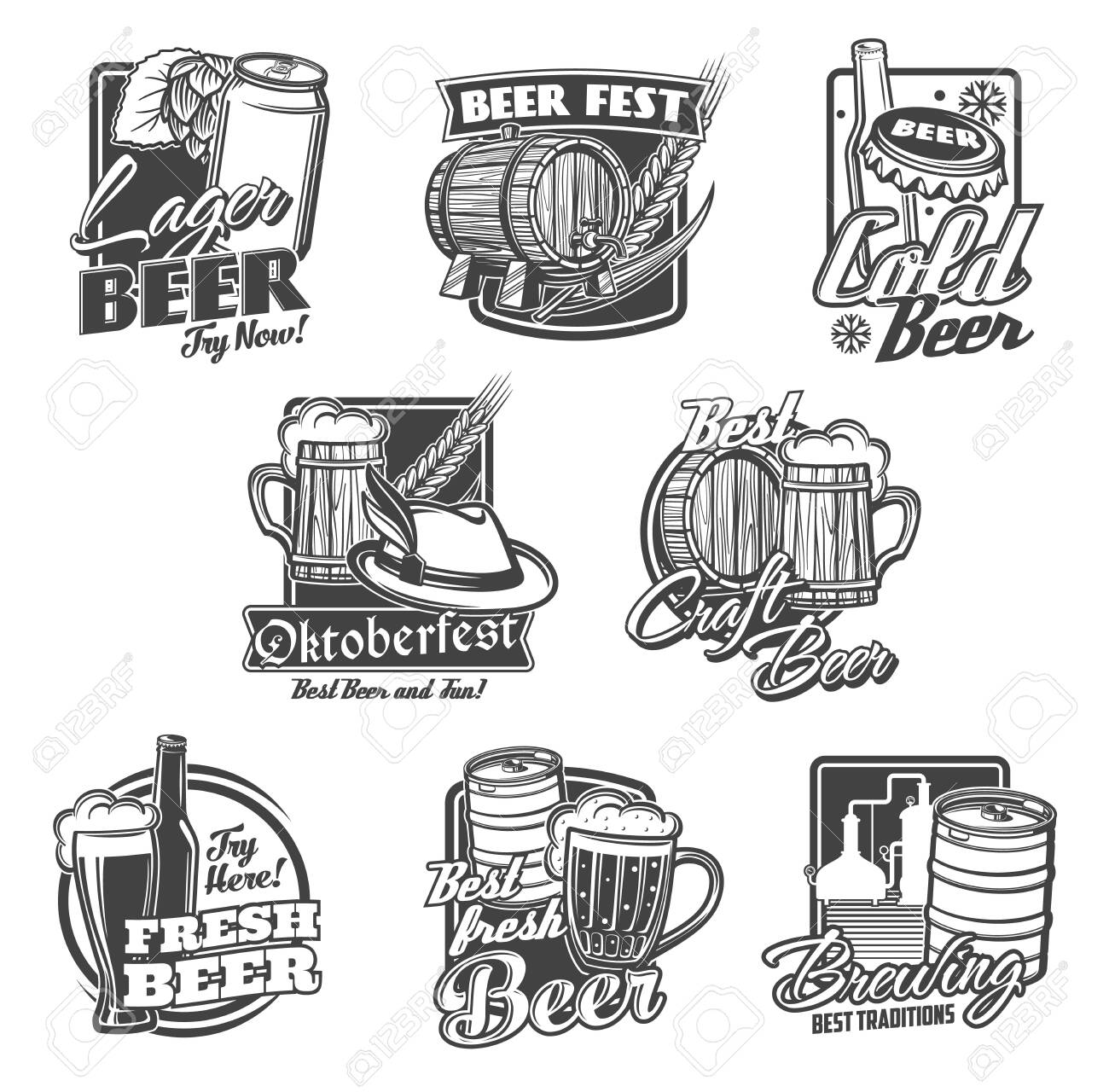 Beer alcohol drink vector icons with beer bottles, glasses and mugs. Pub, bar or brewery pints of ale and lager beverages, barrel, hops and barley, tap, can, brewing tanks and Oktoberfest tankard - 149339737