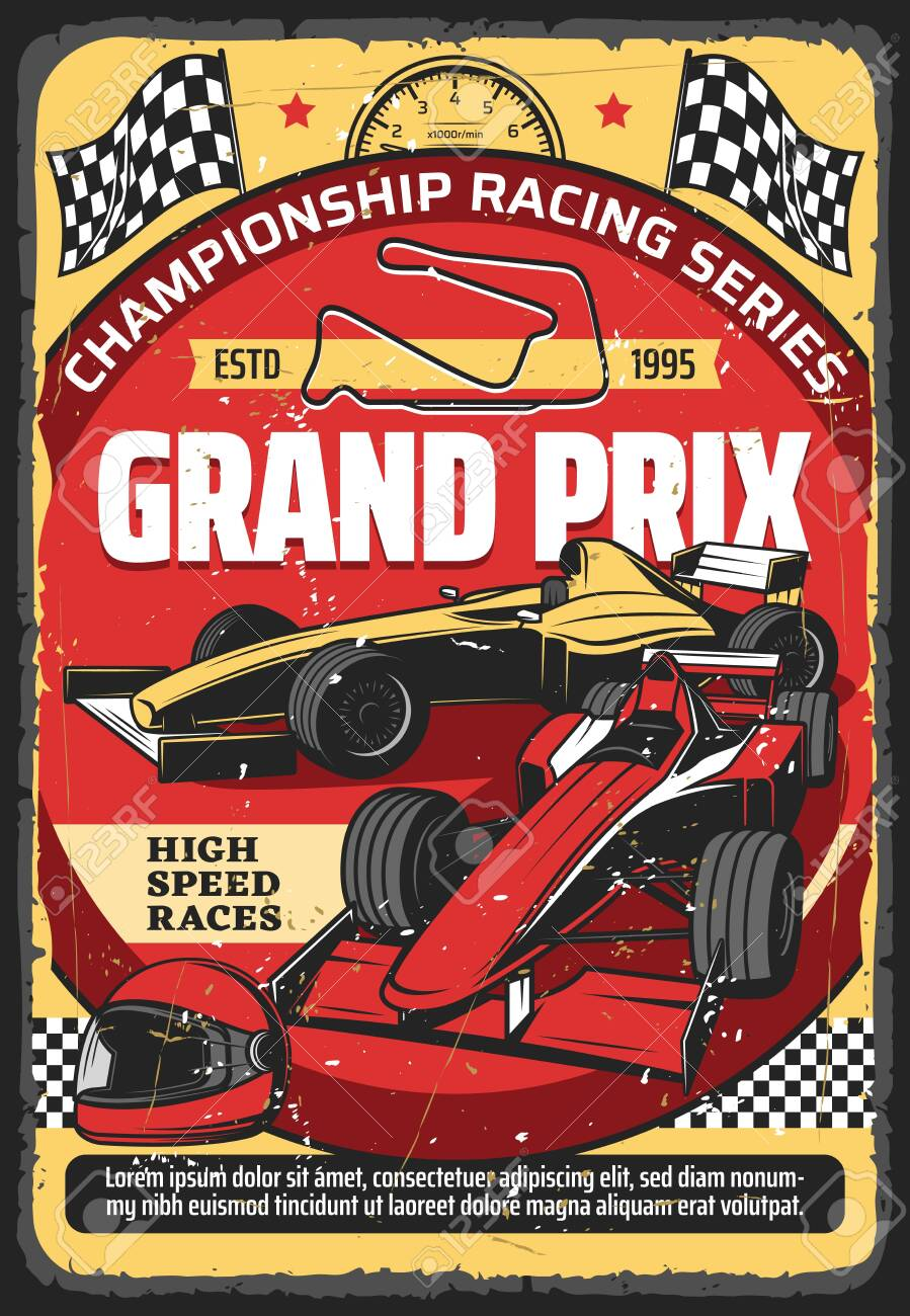 Car races retro poster, vintage auto rally sport championship and Grand Prix tournament, vector. Retro sport car speedway racing tournament, racecar speedometer, racetrack, start and finish flags - 149806602