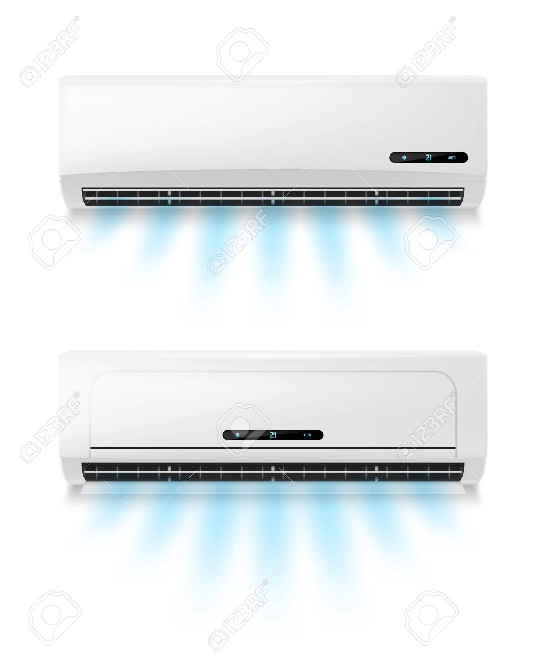 Conditioners, realistic air conditioning eqipment vector mockup. Working and blowing out cold, fresh flows through vents, cooling room air conditioner unit. AC installing, maintenance service - 150058137