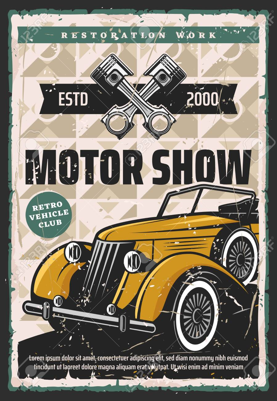 Motor show vector retro poster. Vintage cars and rarity vehicle restoration, race, motorshow and museum exhibition. Old car restoration work service and mechanic garage station - 150059143