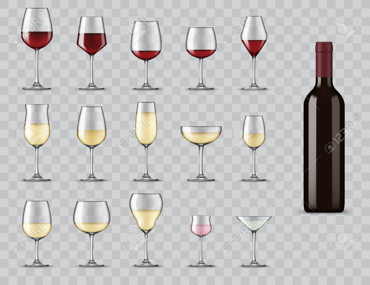 Types of wine glasses. Realistic bottle and glassware for white, red, rose wine, champagne and martini cocktail. Full, light and medium bodied glasses for alcohol drinks isolated 3d vector icons set - 150922056