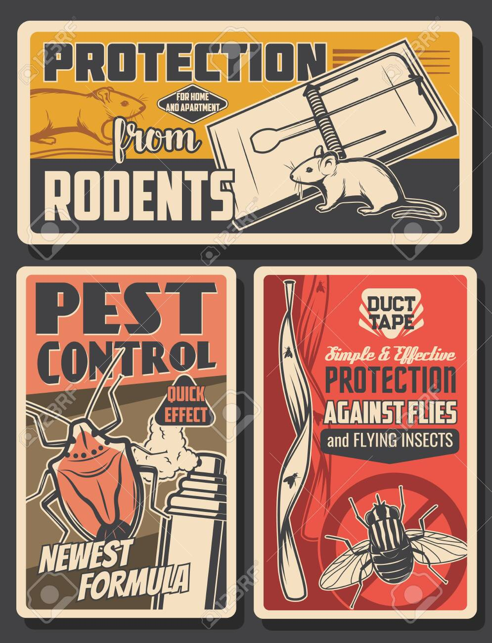 Pest control insects and rodents extermination service, house disinsection. Vector flies, rats, mice and bugs fumigation. Domestic disinfestation, insects and pest control vintage retro posters set - 152698730