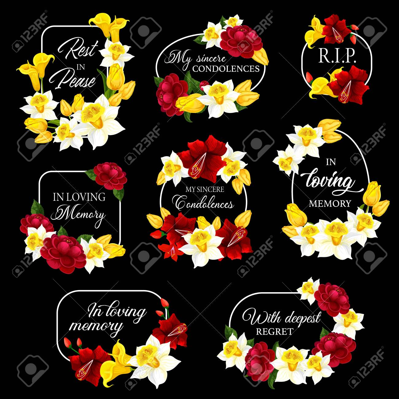 Funeral frames and obituary card borders, vector memorial condolences. Funeral floral frames black plaques for mourning and loving memory, RIP rest in peace remembrance, flower wreath mortuary plates - 153356322