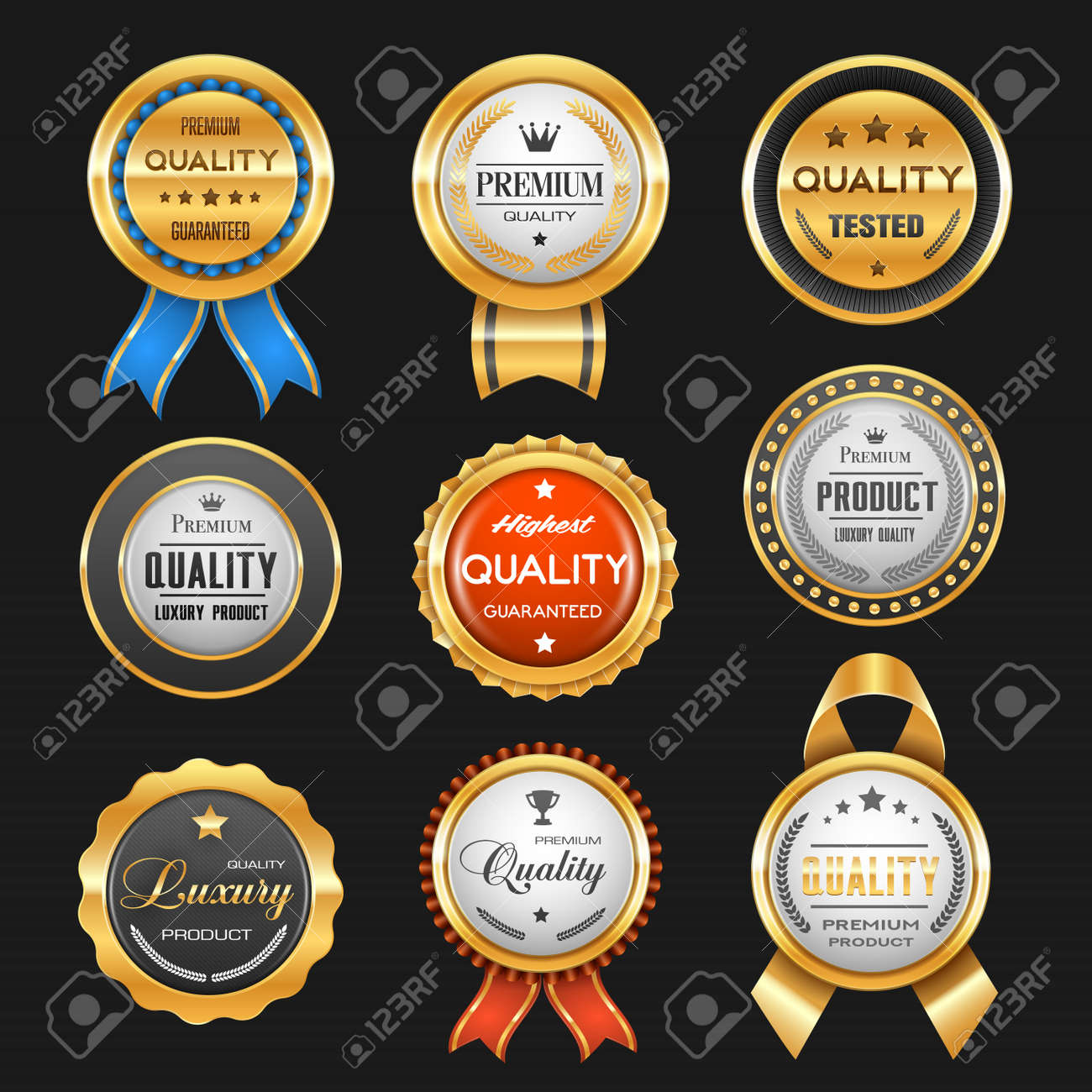 Business labels with vector gold badges of premium quality certificates. Best product award ribbon rosettes with glossy golden stars, royal crowns and winner trophy cups, laurel wreath and tapes - 156953888