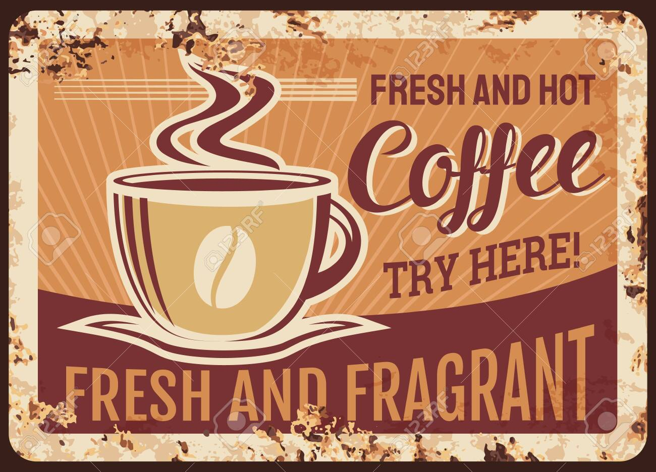 Fresh hot steaming coffee cup vector rusty metal plate, mug with steam and fragrant beverage grunge rust tin sign. Traditional coffee drink retro promo poster, ferruginous vintage ad card, refreshment - 157903560