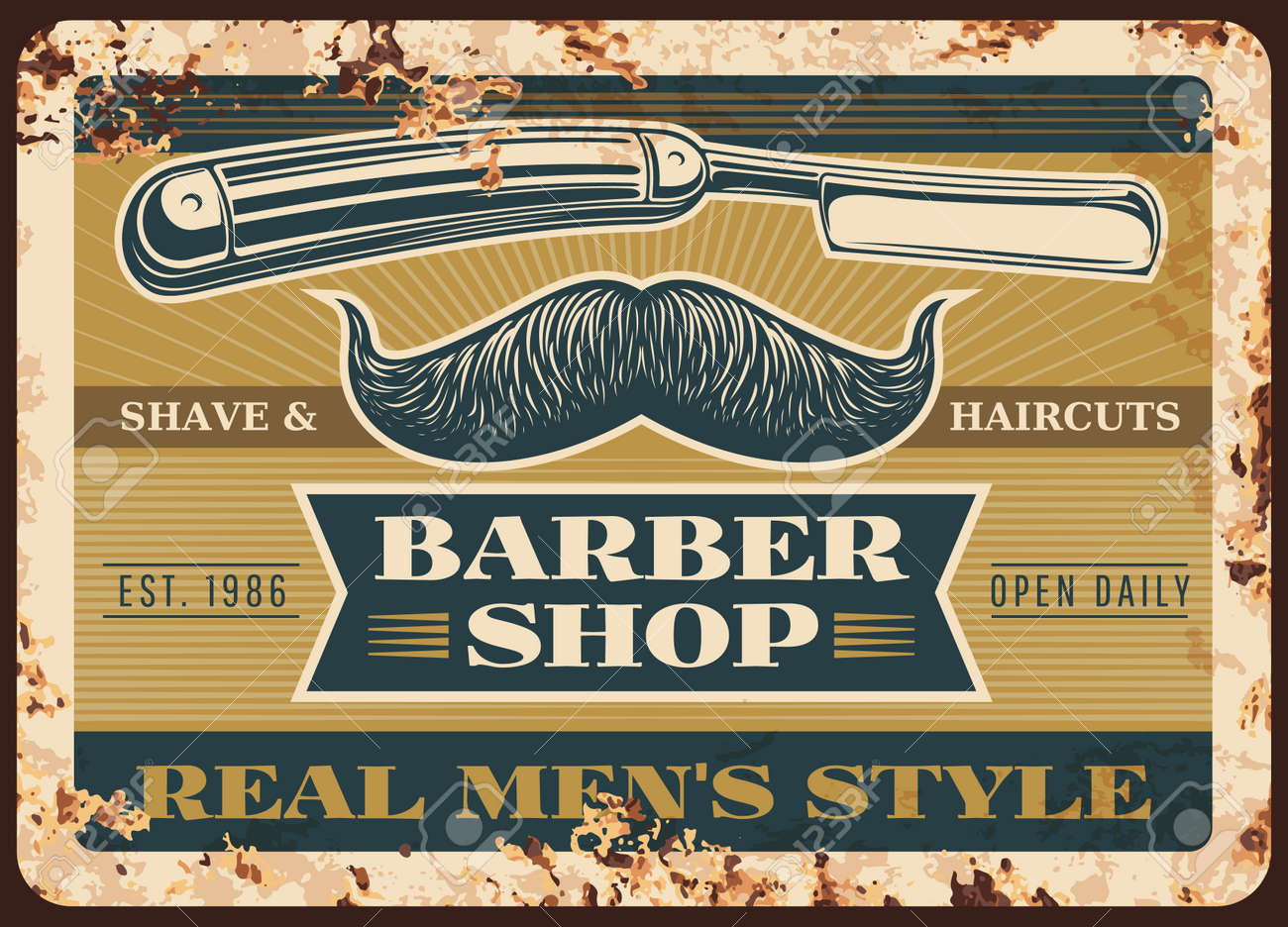 Barber shop rusty metal vector plate. Handlebar mustaches with curved extremities, straight or cutthroat razor and typography. Barbershop, men hairdresser salon retro banner or grungy sigh - 159081483