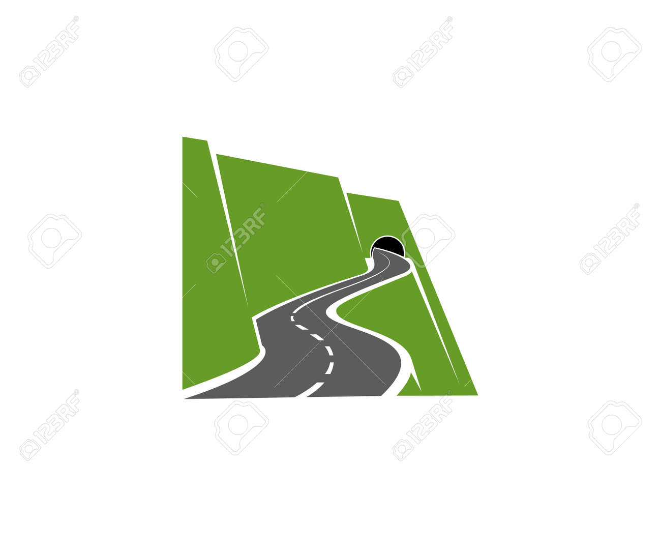 Winding mountain road or highway with tunnel in cliff icon. Speed freeway, driveway or pathway on sidehill or steep mountainside going in tunnel vector. Road travel voyage, transportation emblem - 160017589