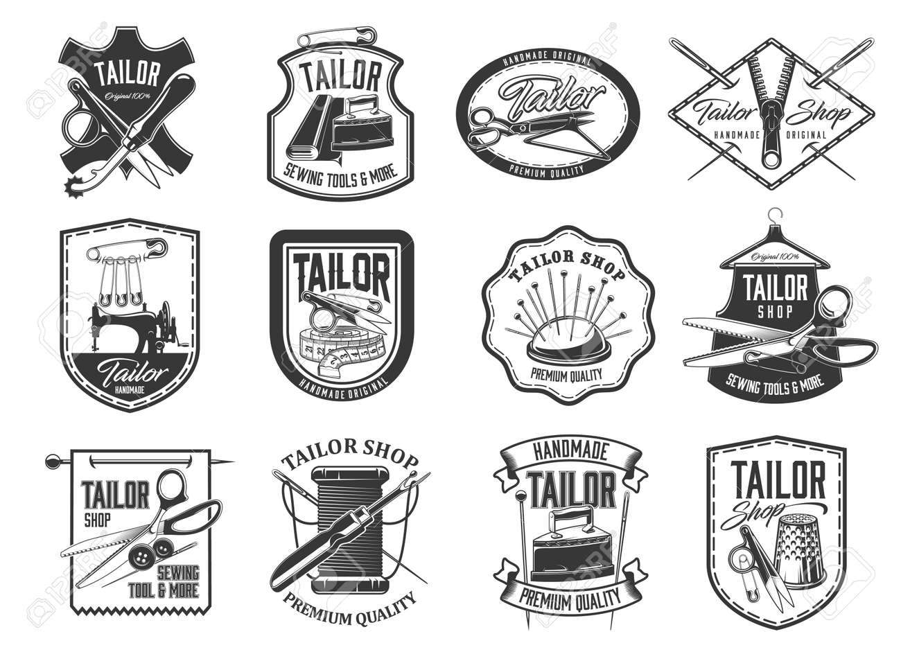 Tailor shop and seamstress service retro icons set. Handmade clothing atelier, dressmaker workshop and tailor tools store emblems. Needle, scissors and pins, vintage sewing machine and iron vector - 160633160