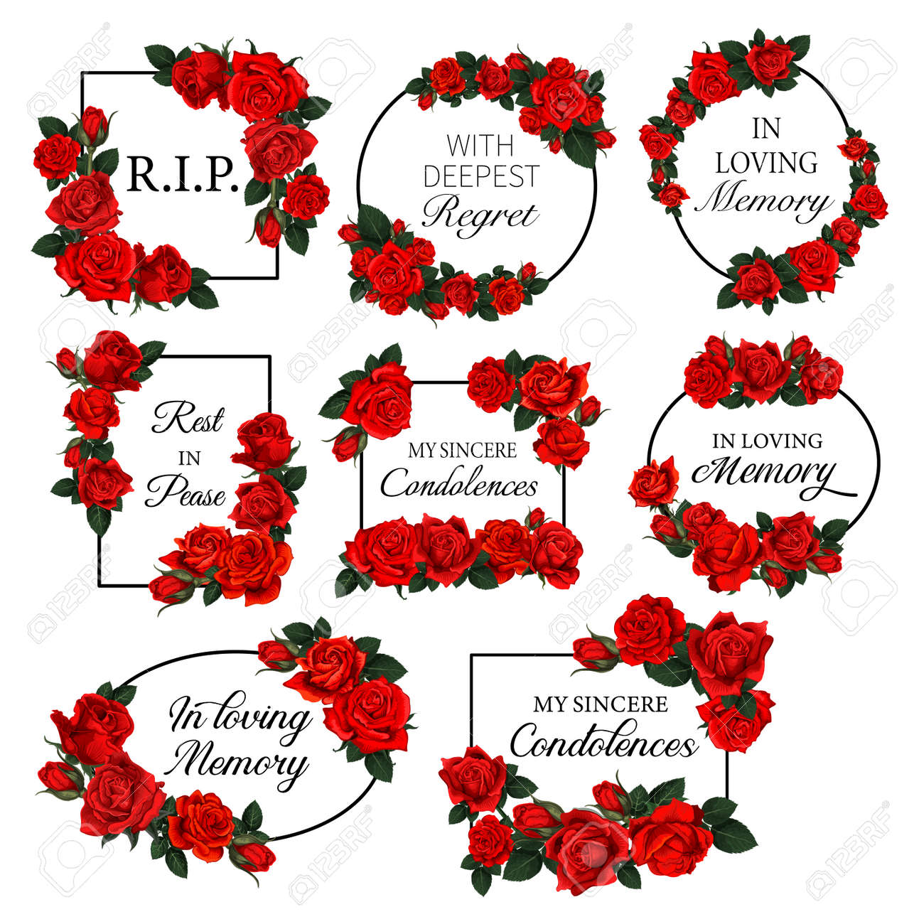 Funereal frames with red roses flowers. Obituary vector round and square frames with RIP res in peace, in loving memory condolences and engraved flowers. Funeral cards decorated floral borders - 163862098