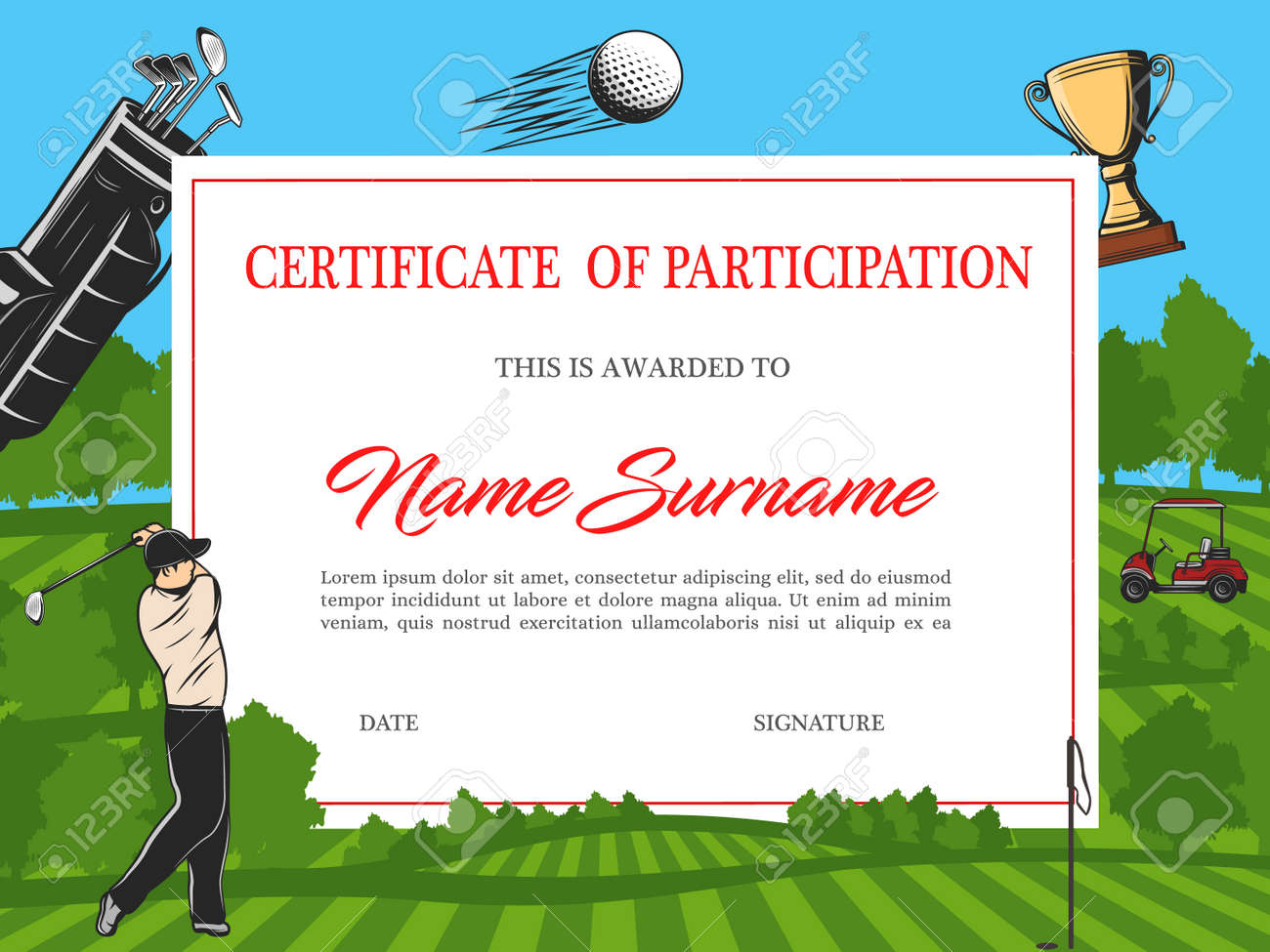 Certificate Of Participation In Golf Tournament Vector Template For Crossing The Line Certificate Template