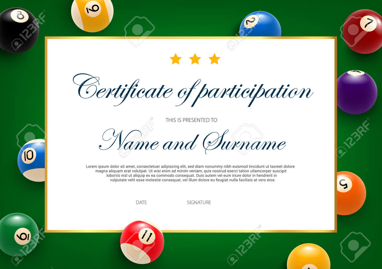 Certificate Of Participation In Billiard Tournament, Diploma Pertaining To Crossing The Line Certificate Template