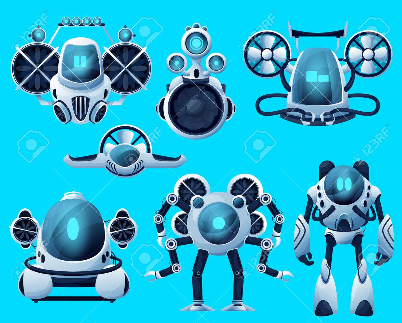 Underwater robots, cartoon submarine sea drone, ocean ROV deep water vehicles. Vector underwater robots, submersible remote control boat and futuristic bathyscaphe, undersea robotic technology - 167501929
