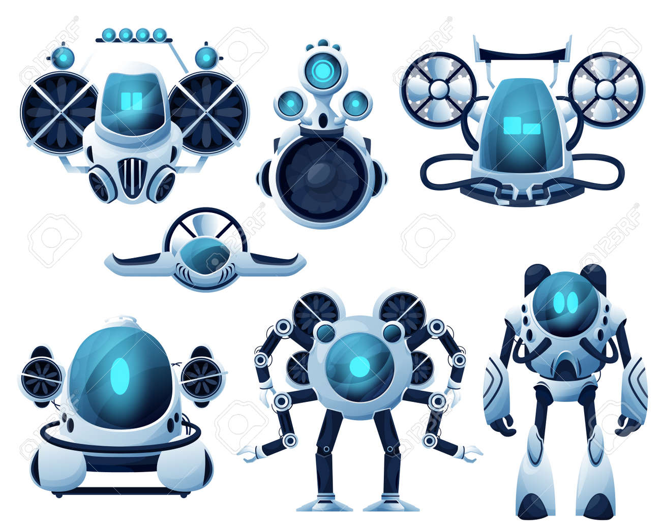 Underwater robot and ROV cartoon characters. Vector robot bathyscaphe and submarine, autonomous and unmanned underwater vehicles with manipulator arms and propellers, sea exploration manipulators - 167723205