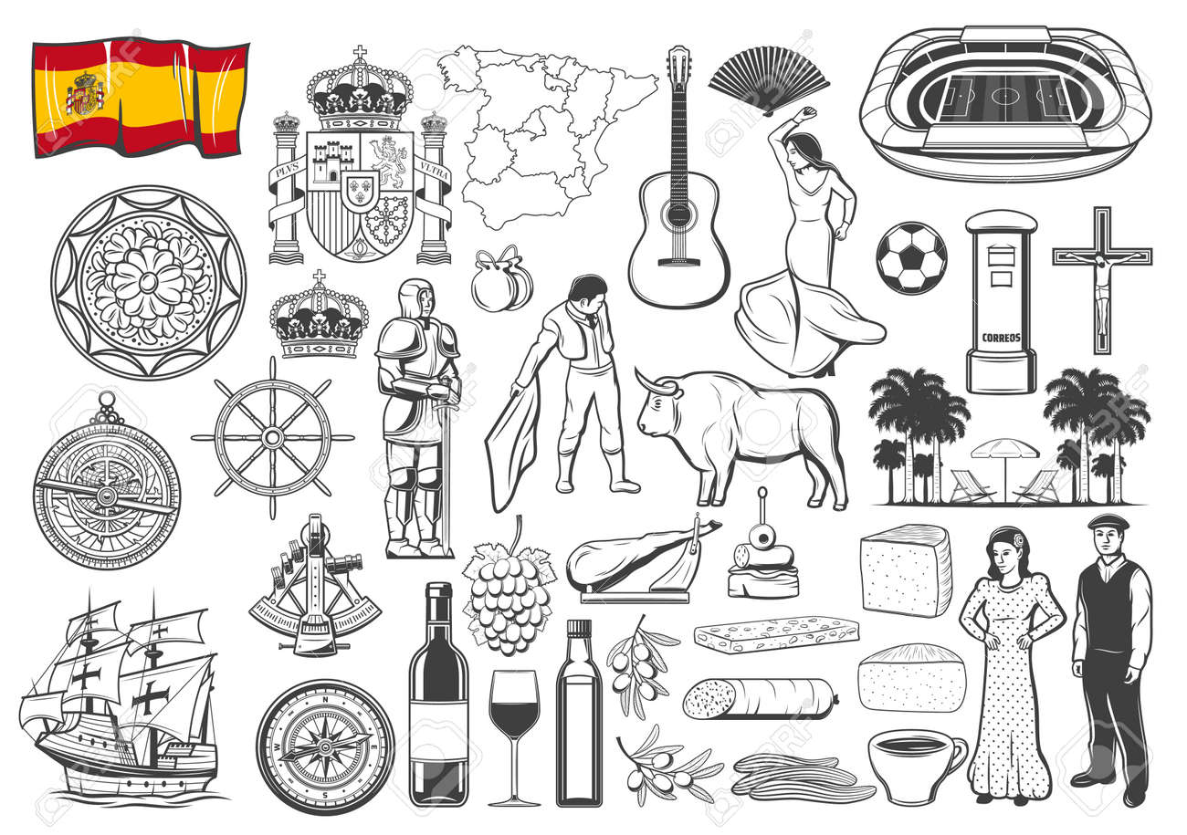 Spanish travel icons and symbols, vector map and flag, Barcelona and Madrid landmark icons. Spain flamenco and olives, food paella and bull corrida, guitar and caravel, coat of arms and wine - 167723305