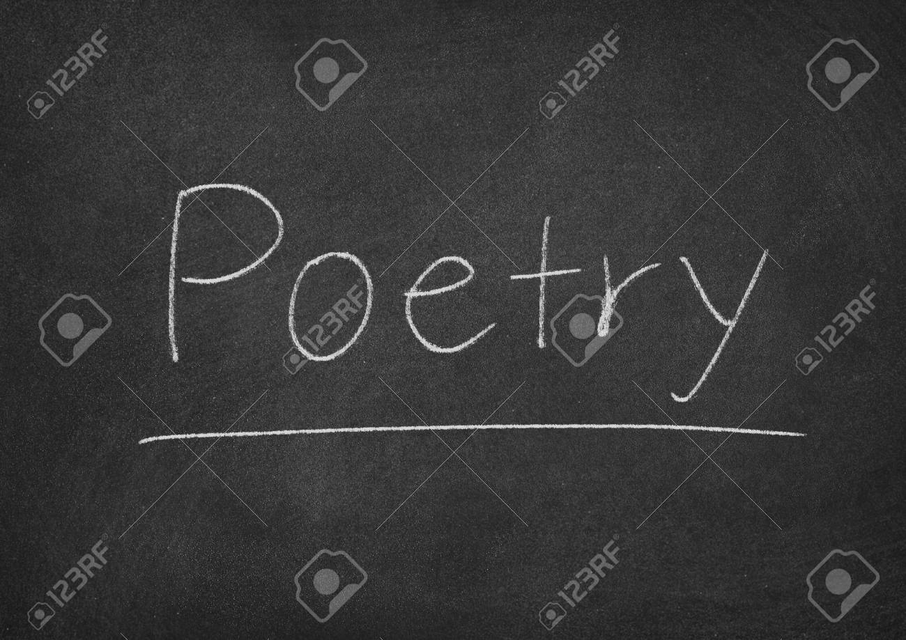 Poetry Concept Word On A Chalkboard Background Stock Photo