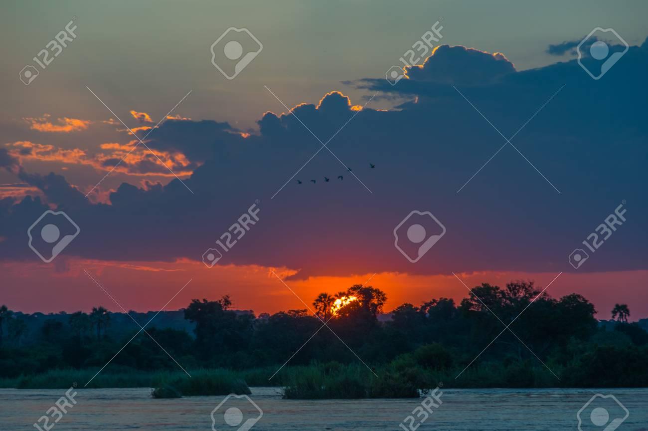 Beautiful Sunset Over The Zambezi River Zambia Is Fourth Longest