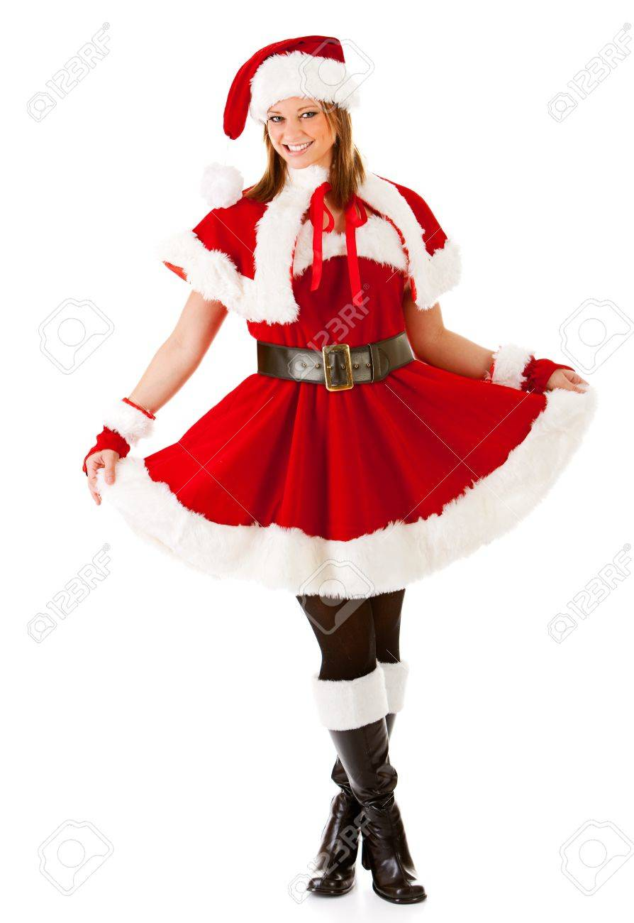 Caucasian female dressed in a cute Santa elf outfit. Stock Photo - 22057724  sc 1 st  123RF.com & Caucasian Female Dressed In A Cute Santa Elf Outfit. Stock Photo ...