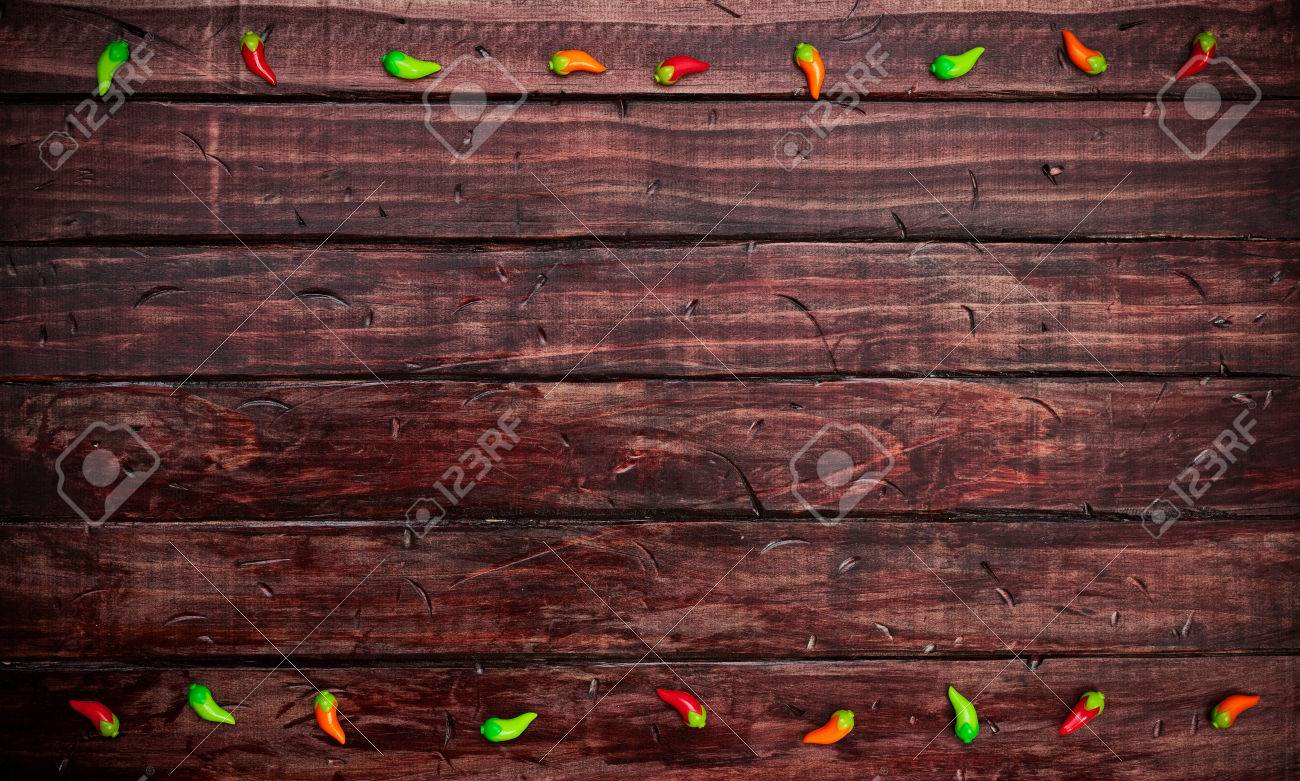 Cinco De Mayo Background With Tiny Chile Peppers Stock Photo