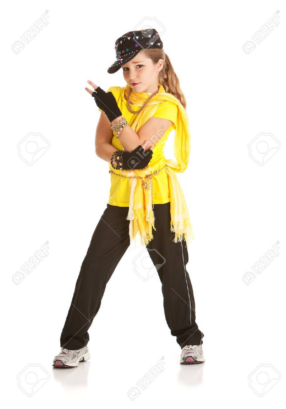 dancer girl dressed in hip hop dance costume stock photo picture
