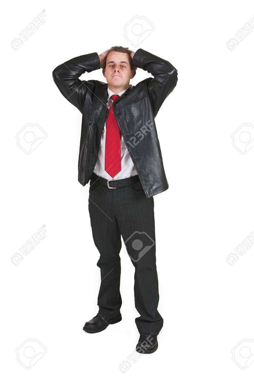 Businessman In Black Leather Jacket White Shirt And Red Tie