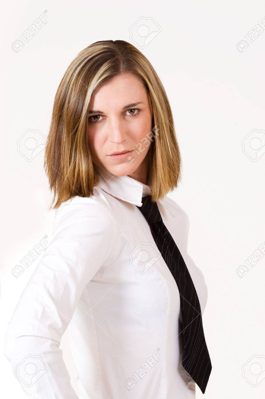 Business Woman With White Shirt And Black Tie Stock Photo, Picture ...