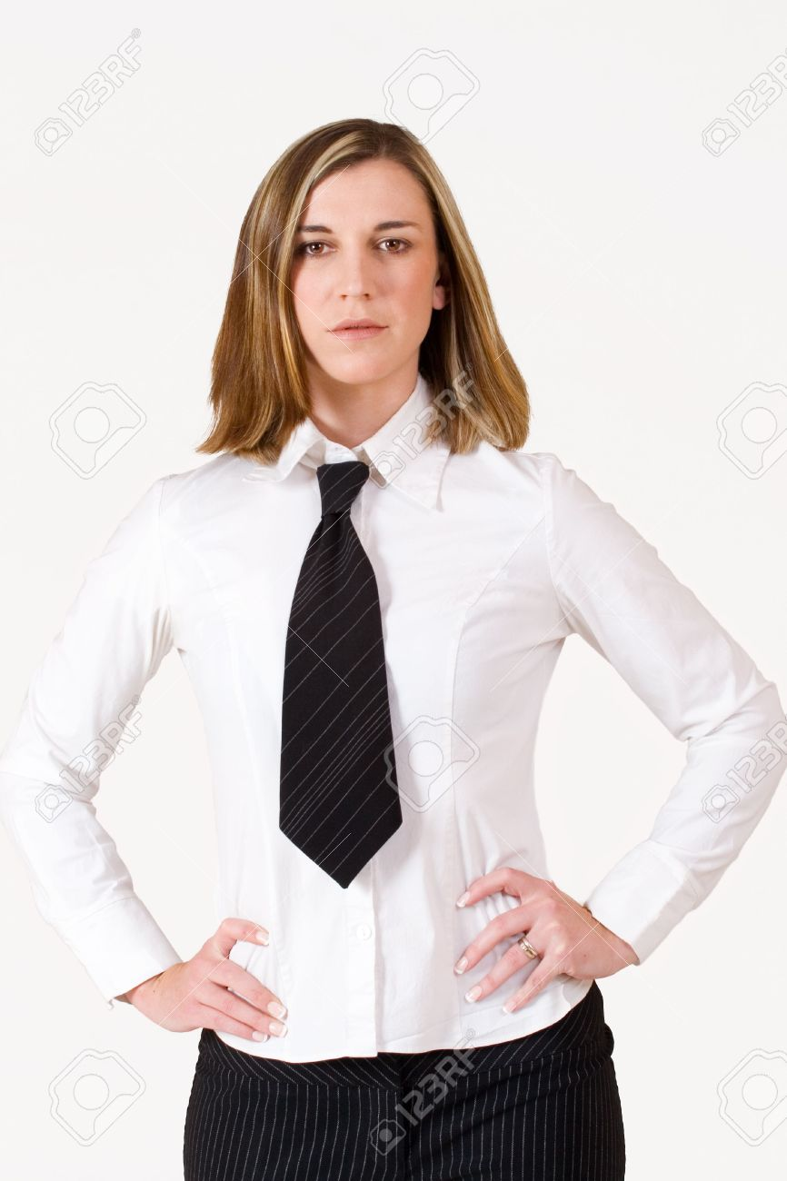 Business Woman Standing With Hands On Hips Wearing White Shirt ...