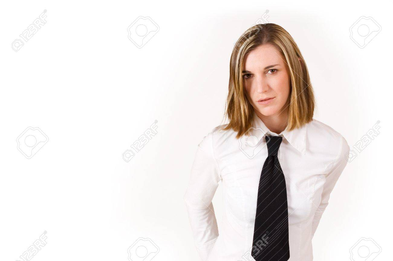Business Woman With White Shirt And Black Tie - Copy Space Stock ...