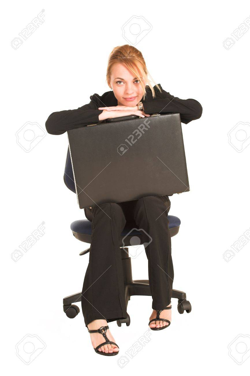 Black child sitting in chair - Blonde Business Lady In Formal Black Suit Sitting On A Office Chair With A