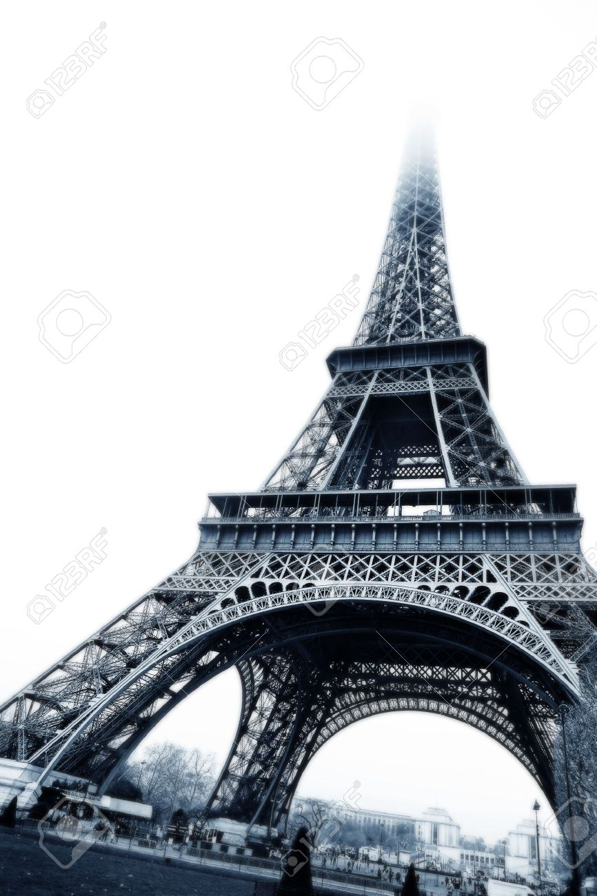The Eiffel Tower in Paris, France. Black and white, digital artwork - copy space. Stock Photo - 376946