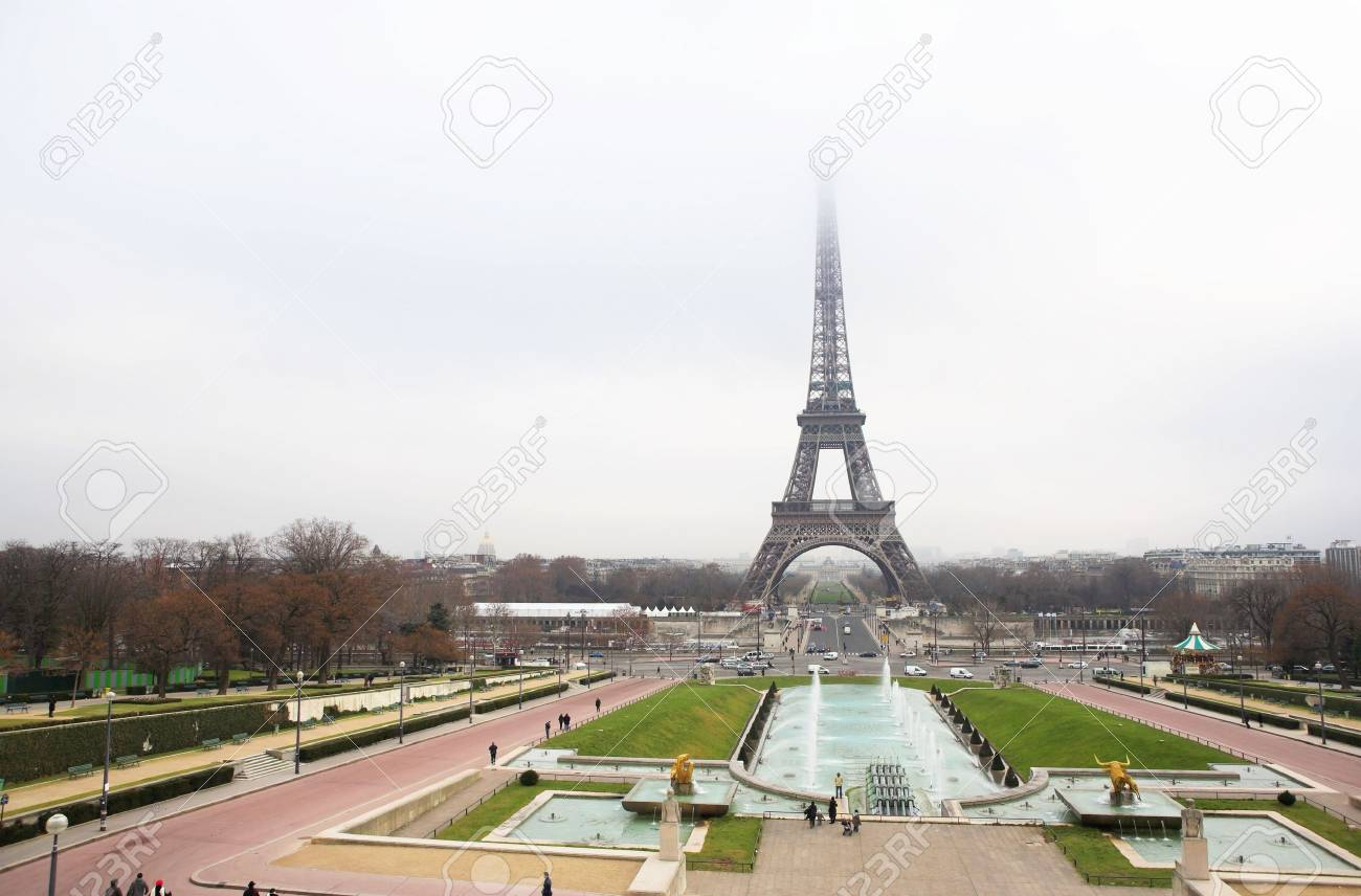 The Eiffel Tower in Paris, France.  Copy space. Stock Photo - 376933