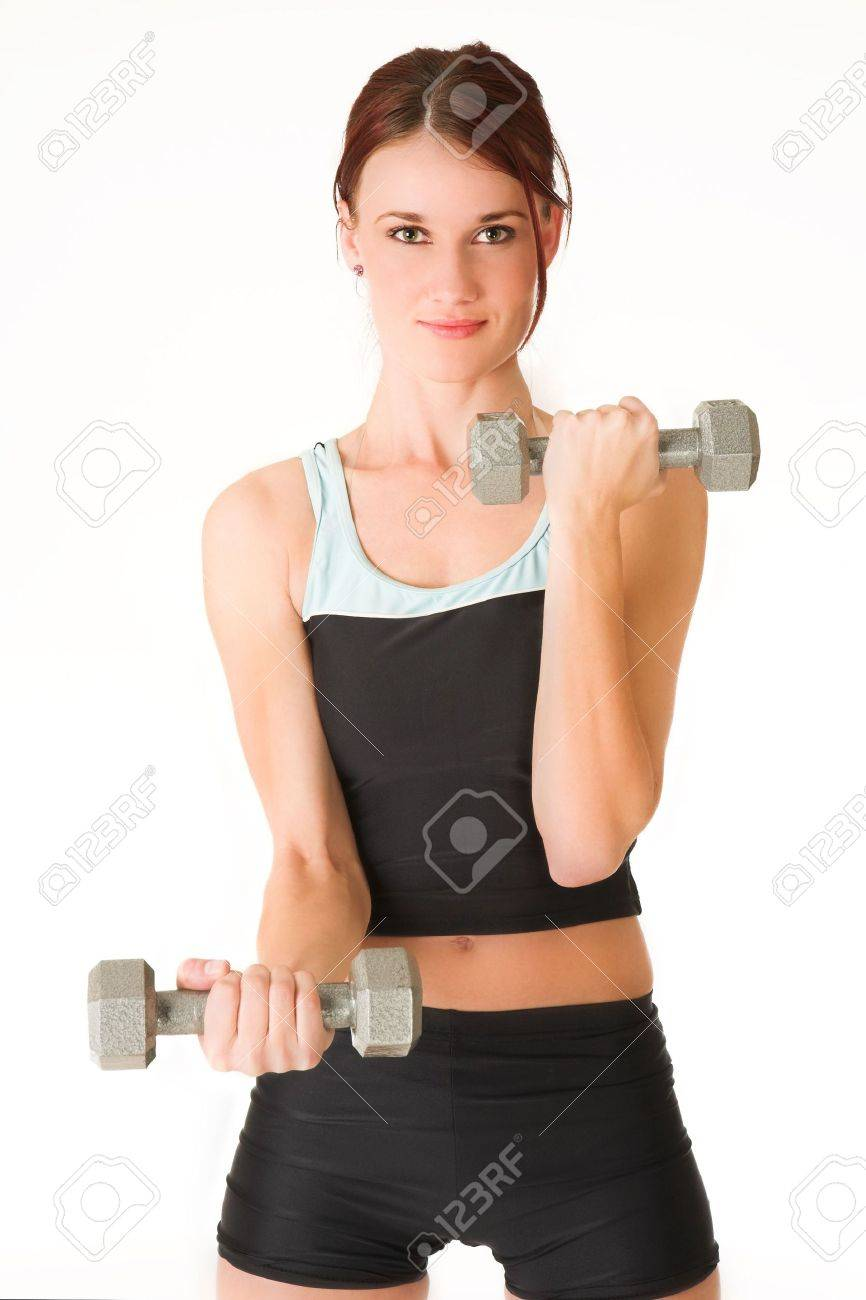 A woman in gym clothes, holding weights. Stock Photo - 466036