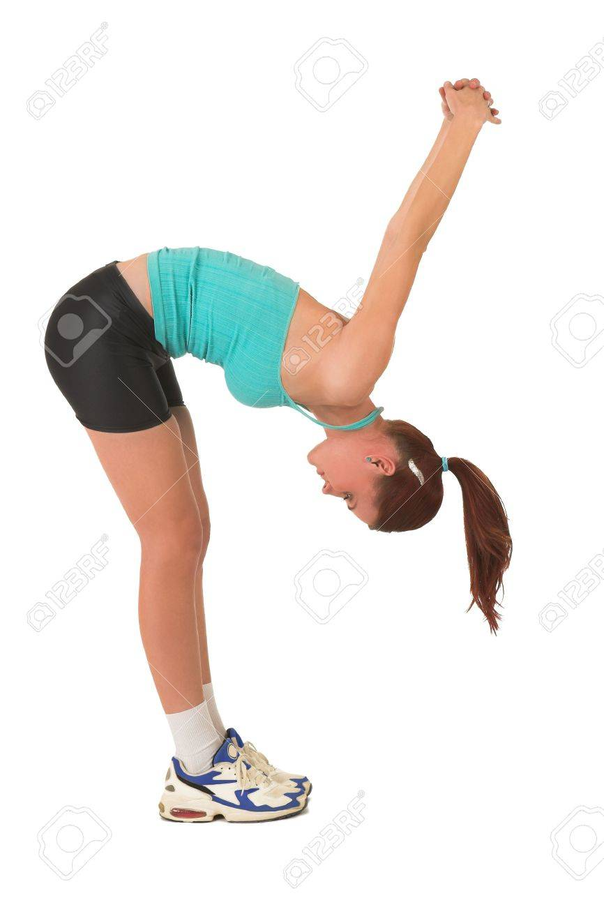 Woman stretching, bending over. Stock Photo - 526599