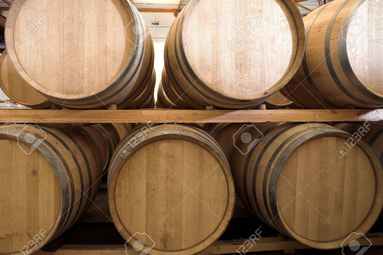 stack wine barrels. Stacked Oak Barrels For Maturing Red Wine And Brandy In A Cooling Cellar. Made From Stack I