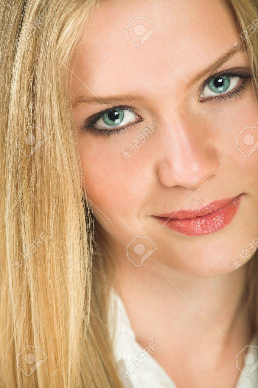 Blonde hair pale green eyes - Portrait Of A Beautiful Young Adult Caucasian Woman With Light Skin And Straight Blond Hair