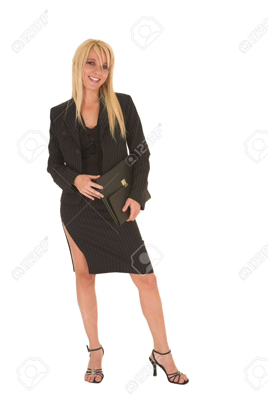 fe11e3809 Sexy young adult Caucasian businesswoman in black pinstripe pencil skirt  and suit jacket on a white