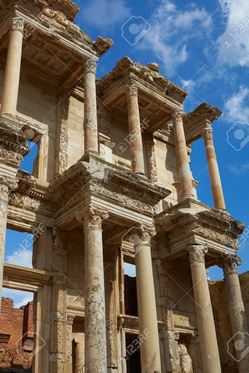 The remains and statues of the enormous Library of Celsus in the city of Ephesus in modern day Turkey Stock Photo - 10727423