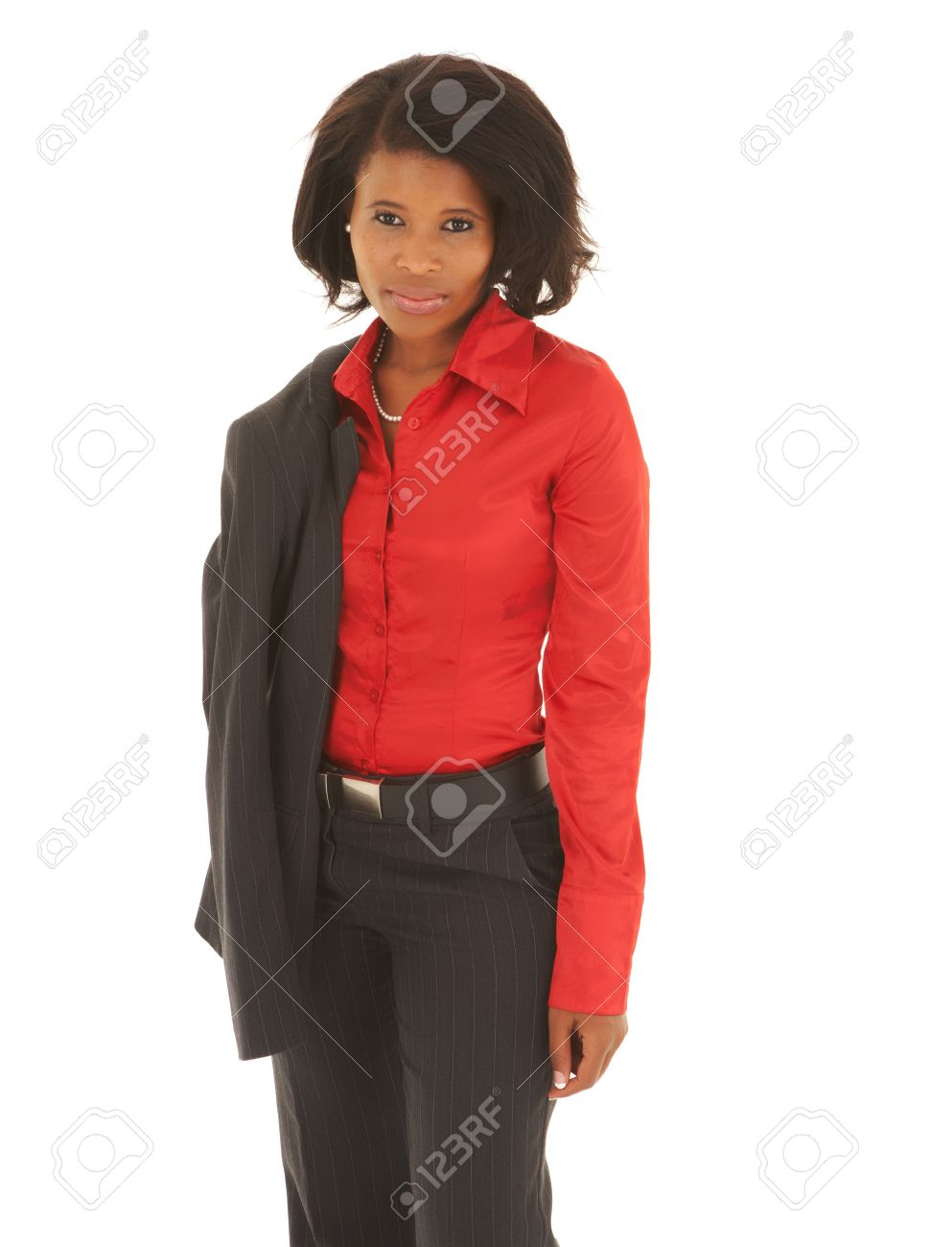 Young Adult Caucasian Businesswoman Wearing A Grey Suit With ...