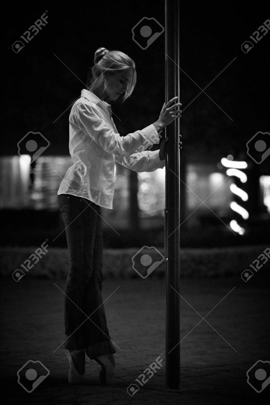 f0422893933 Young Adult Blonde Ballerina Dancing At Night Stock Photo, Picture ...